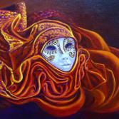 Masken aus Venedig rot