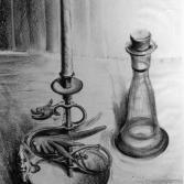 Kerzenständer mit Flasche