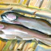 Zwei Fische auf Bambus