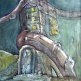 Sitzender Vogelmensch