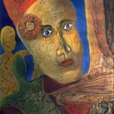 Frau mit rotem Dutt