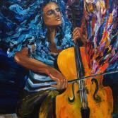 Musik gemalt,Cellistin