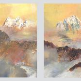 Golden sunrise. Screen in 4 parts.
