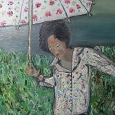 Mädchen mit Schirm/Vor einem Gewitter?