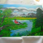 Landschaft mit Dompfaff