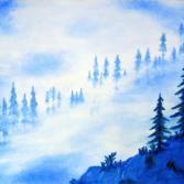 Berghang im Nebel