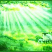 Schafe unter Sonnenstrahlen