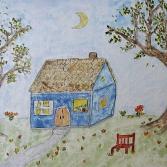 Das blaue Haus im Mondenschein