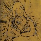 Linoldruck meditierende Engel