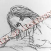 Akt Zeichnung: Blowjob Kohlestift II