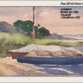undatiert Boote am Ufer Aquarell 143x96mm Pas 297x210mm DIN A4 (05)