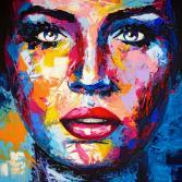 Original Gemälde Leinwand Acryl modern Gesicht abstrakt Bild 899 Hand Portrait