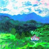 Häuschen in den Bergen, 30x40cm