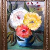 3 Rosen in blauer Vase