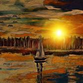 Segelshiff in der Abendsonne