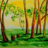 Aquarell Im Wald