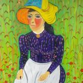 Bäuerin mit Strohhut