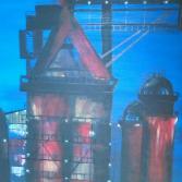 Hütte angestrahlt bei Nacht