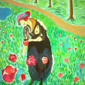 Frau im Tulpengarten