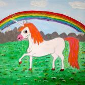 Einhorn unter einem Regenbogen