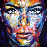 Original Gemälde Leinwand Acryl modern Gesicht abstrakt Bild 916 Hand Portrait