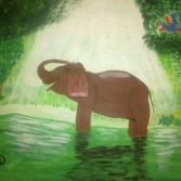 Elefant und Ara