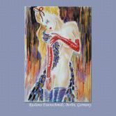 Original Ruslana Eisenschmidt erotische Aktzeichnung nude Kunst Federboa A4 2008