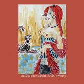 Original Malerei female nude Akt Zeichnung fetisch Korsage Federboa Gold Tusche