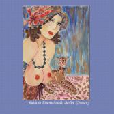 Fine art nude donne modello firmato a mano femminile nude anni '30 big boob cat