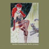 Original Bild signiert Aktzeichnung nude Frauenakt drawing female Teufel Dessous