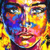 Original Gemälde Leinwand Acryl modern Gesicht abstrakt Bild 921 Hand Portrait