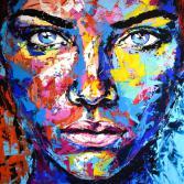 Original Gemälde Leinwand Acryl modern Gesicht abstrakt Bild 922 Hand Portrait