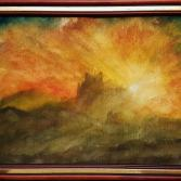 Burgruine im Sonnenuntergang