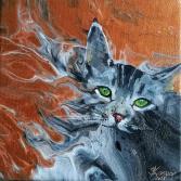 Katze Grey auf AcrylPouring