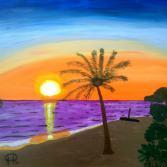 Insel im Sonnenuntergang